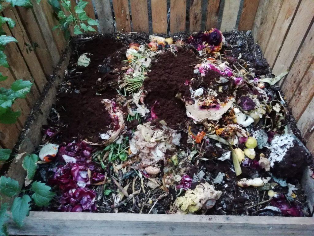 Dépôt des matières organiques avant mélange avec matières structurantes dans le bac à compost du Guidon dans la Tête.