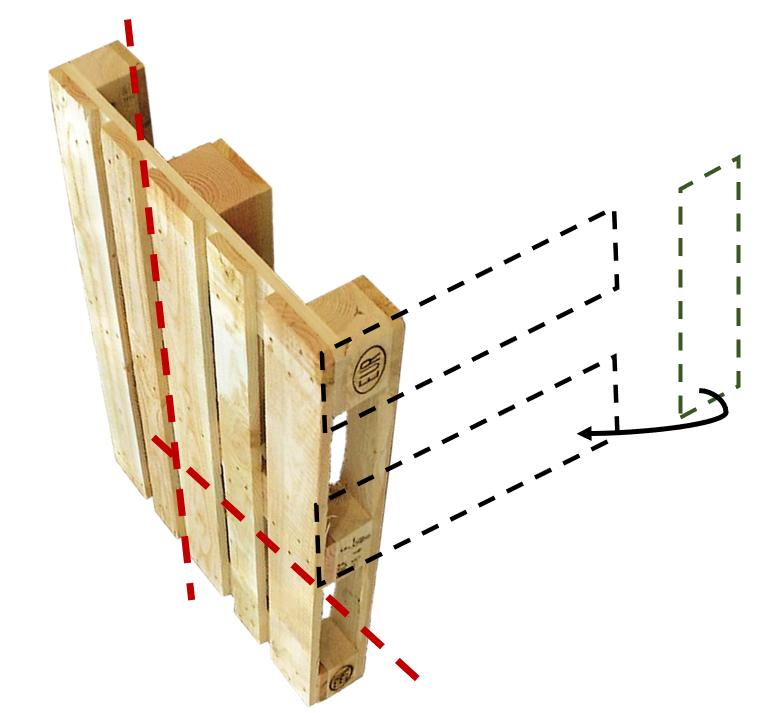 Schéma explicatif des découpes et de l'assemblage dans le cas d'une palette Europe EPAL en alternative à la palette cimentière comme élément de base de la construction.